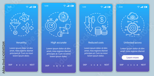 Product advantages onboarding mobile app page screen with linear concepts Canvas Print