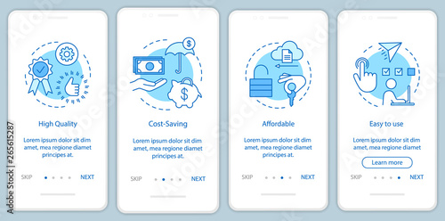 Software benefits onboarding mobile app page screen with linear concepts Wallpaper Mural