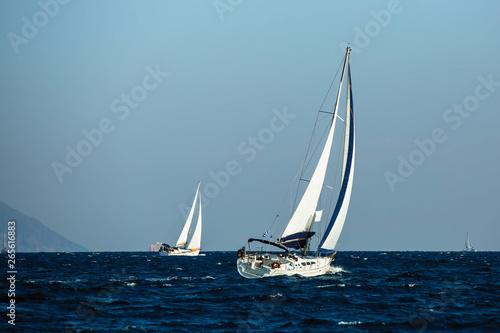 Sailing yacht boats regatta at the Aegean Sea.