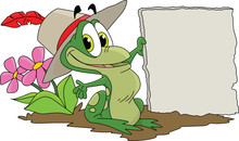 Cartoon Frog Holding A Blank S...