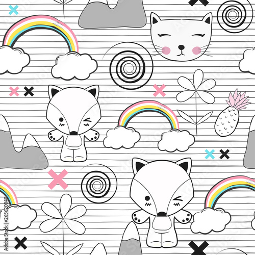 Foto op Canvas Retro sign cute kids seamless pattern