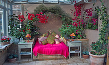 An Exotic And Colourful Conservatory With Flowering Bourgainvillea