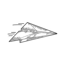 Paper Airplane Creation Instructions Sketch Engraving Vector Illustration. Scratch Board Style Imitation. Black And White Hand Drawn Image.