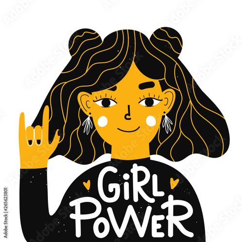 Photo  Vector illustration with young woman showing hand rock sign and lettering text - girl power