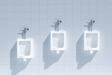 Public Toilet Ads, A Row Of Urinals In Tiled Wall In A Public Toilet, Blank Poster On White Wall - 3D Rendering