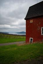 Red Barn With Vineyard An Lake