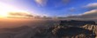 Canyon at sunset, panoramic view of the canyen under a sky with clouds