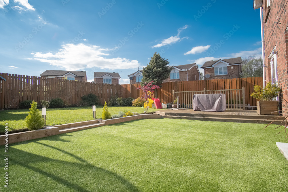 Fototapeta Modern Garden Designed and landscaped with newly Constructed Materials.