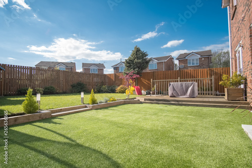 Foto op Plexiglas Pistache Modern Garden Designed and landscaped with newly Constructed Materials.