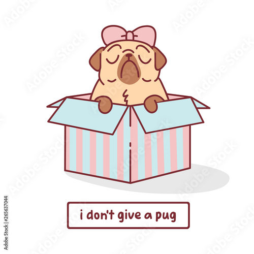 Photo cartoon pug dog character with bow sitting in a box vector illustration with han
