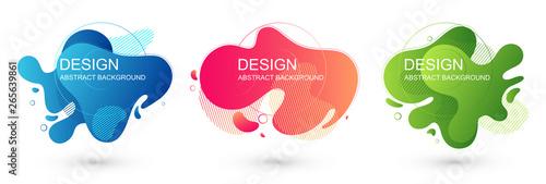 Fototapeta Set of abstract liquid shape graphic elements. Colorful gradient fluid design. Template for presentation, logo, banner. Vector illustration. obraz