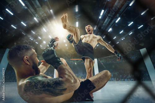 Obrazy MMA   obraz-na-plotnie-scare-of-death-two-professional-fighters-posing-on-the-sport-boxing-ring-couple-of-fit-muscular-caucasian-athletes-or-boxers-fighting-sport-competition-and-human-emotions-concept