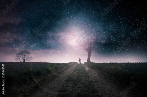 Tuinposter UFO A sceince fiction concept. A mysterious hooded figure silhouetted against a bright light by a dead tree on a country path with stars above. With deliberate lens flare.