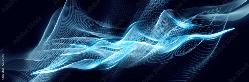 Fototapety, obrazy: Blue abstraction with waves. Modern panoramic background.