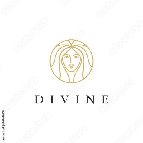 Photographie goddess woman line vector logo design