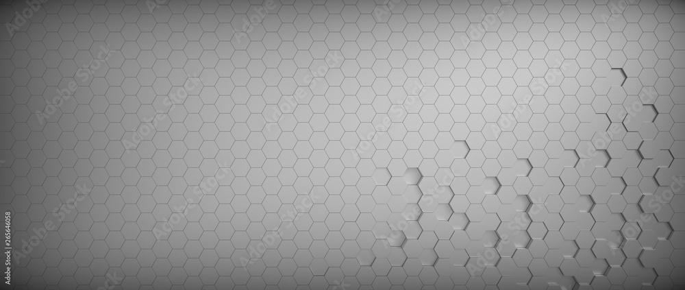 Fototapety, obrazy: Metallic Gray honeycomb hexagon background wallpaper. Top view. 3D render