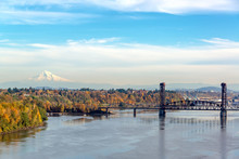 Burlington Northern Railroad Bridge And Mt. Hood