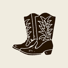 Cowboy Boots Silhouette In Retro Style