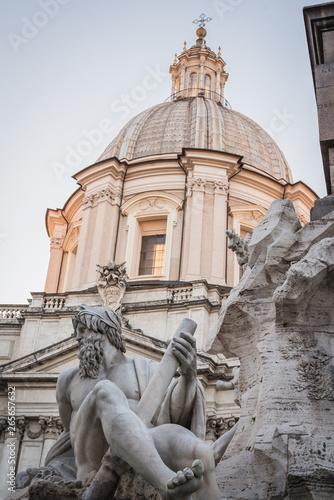 Fotografie, Obraz  Statue and building of Piazza Navona in Rome