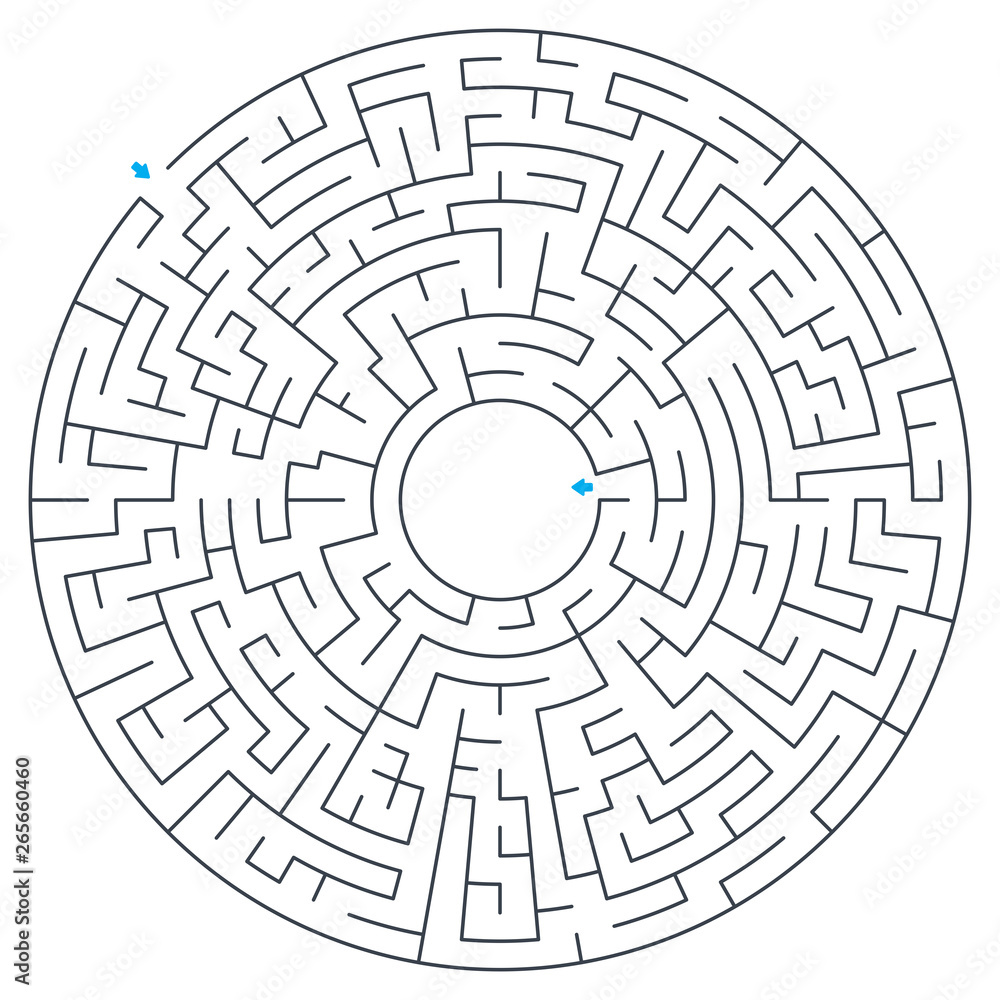 Fototapeta Maze, labyrinth, vector illustration. Round, circular maze. High quality vector.