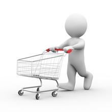 3d Man With Shopping Cart Trol...