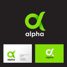 Alpha Logo. A Emblem. Green Gr...