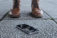Broken Smartphone With Cracked...