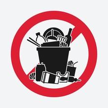 Trash Bin Overflowing Garbage. Sign Do Not Litter