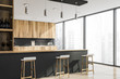 canvas print picture - Corner of loft gray kitchen with bar