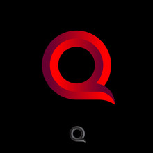 Q Monogram. Q Letter Logo. Beautiful Voluminous Letter Q As Ribbon On A Dark Background.