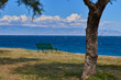 view of the Ionian sea and the coast of Calabria on a sunny and windy day