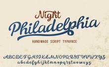 Night Philadelphia. Vintage Brush Script. Handmade Font. Retro Typeface. Vector Font Illustration.