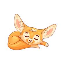 Sleeping Cartoon Fennec Fox. C...