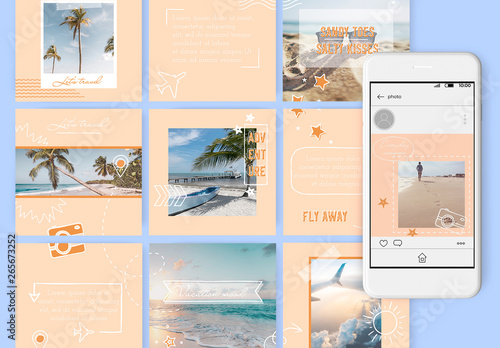 Fototapety, obrazy: Set of 15 Social Media Posts Layouts with Hand Drawn Travel Doodles. Endless puzzle design