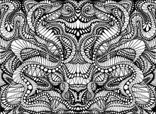 Coloring Page Abstract Pattern, Maze Of Ornaments. Psychedelic Stylish Card. Vector Illustration Antistress Psychedelic Tribal Background. Black And White Symmetrical Element.
