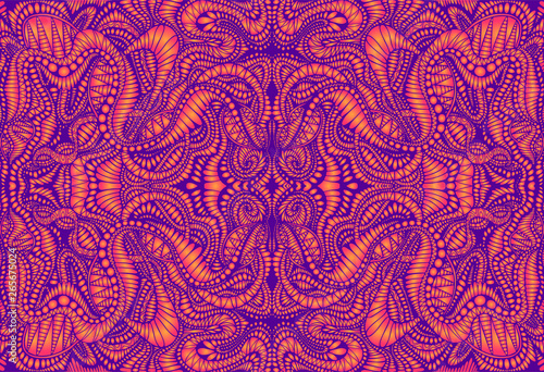 Vintage psychedelic tryppi colorful fractal pattern. Gradient neon violet, orange colors. Decorative surreal abstract mandala with maze of ornament shamanic fantasy texture. Vector illustration.
