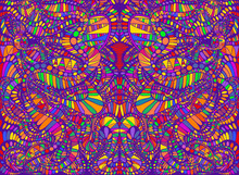 Vibrant Psychedelic Creative Colorful Symmetrical Kaleidoscope Background. Decorative Surreal Abstract Pattern With Maze Of Ornament Shamanic Texture. Vector Illustration.