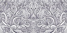 Waves Creative Decorative Abstract Background, Psychedelic Coloring Page For Adults. Vector Surreal Monochrome Fantasy Waves Illustration.