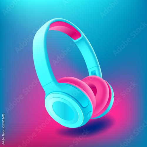 Blue and pink headphones isolated on bluee background, realistic vector illustration Fototapeta