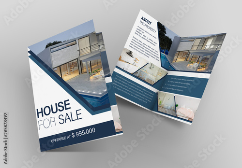 real estate bifold flyer layout with blue accents  buy