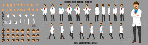 Fotografia  Doctor Character Model sheet with Walk cycle Animation Sequence