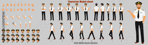 Fényképezés Pilot Character Model sheet with Walk cycle Animation Sequence