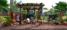 3d Render House Outdoor Terrace