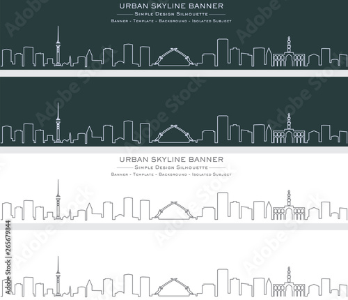 Baghdad Single Line Skyline Banner Fototapeta