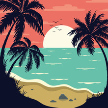 Vintage Tropical  Landscape With  Palm Branches. Seascape With Tropical Plants. Tourism And Travelling. Vector Flat Design