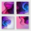 squareabstract color 3d paper art illustration set. Contrast colors. Vector design layout for banners presentations, flyers, posters and invitations. Eps10.