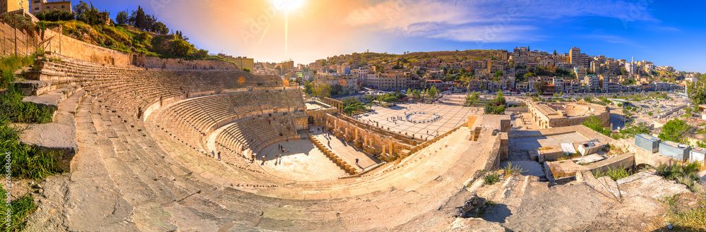 Fototapety, obrazy: View of the Roman Theater and the city of Amman, Jordan
