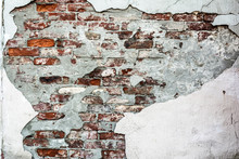 Texture Old Brick Wall With Crumbling Plaster And Shattered, Abstract Background