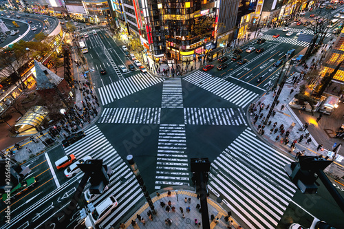 Leinwand Poster Aerial view of intersection in Ginza, Tokyo, Japan at night.