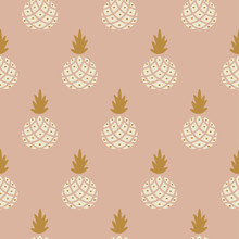 Elegant Pineapple Blush Colored Fabric Wallpaper Seamless Vector Print.